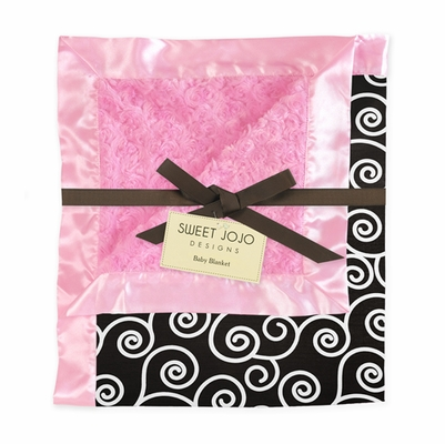 Pink and Black Minky and Satin Baby Blanket