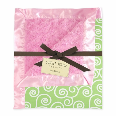 Pink and Green Minky and Satin Baby Blanket