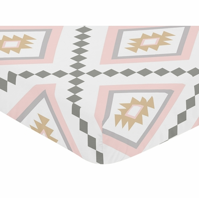 Aztec Pink and Grey Collection Crib Sheet - Aztec Print