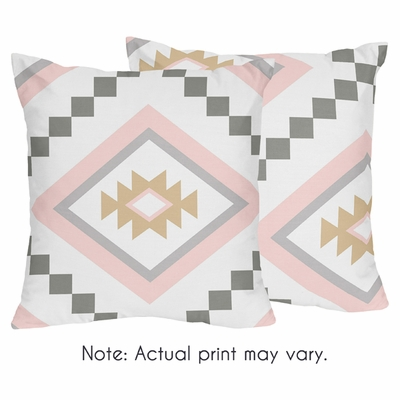 Aztec Pink and Grey Collection Decorative Accent Throw Pillows - Set of 2
