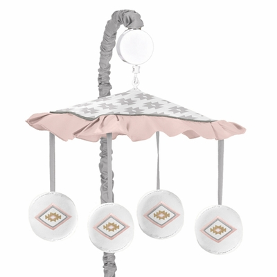 Aztec Pink and Grey Collection Musical Mobile