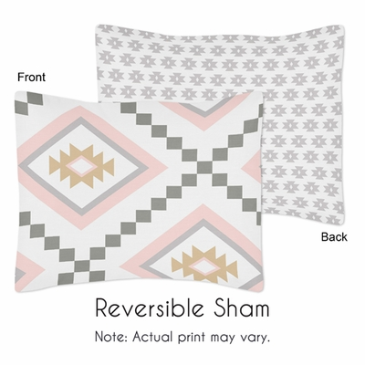 Aztec Pink and Grey Collection Pillow Sham