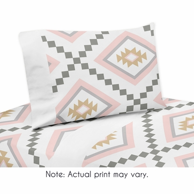 Aztec Pink and Grey Collection Queen Sheet Set