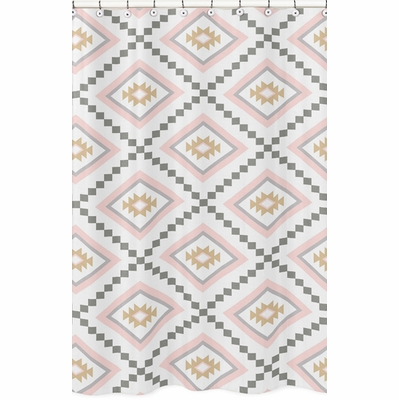Aztec Pink and Grey Collection Shower Curtain