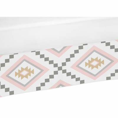 Aztec Pink and Grey Collection Crib Bed Skirt