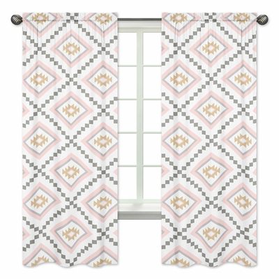 Aztec Pink and Grey Collection Window Panels - Set of 2