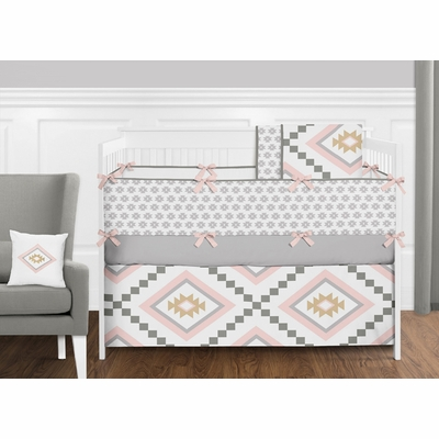 Aztec Pink and Grey Crib Bedding Collection