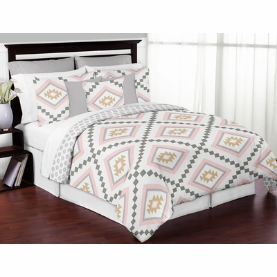 Aztec Pink and Grey Full/Queen Bedding Collection