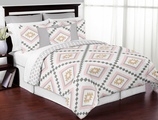 Aztec Pink And Grey Full Queen Bedding Collection