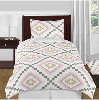 Aztec Pink and Grey Twin Bedding Collection