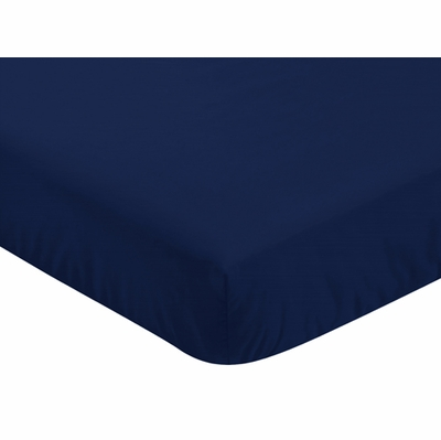 Fox Patch Pink and Navy Collection Crib Sheet - Solid Navy