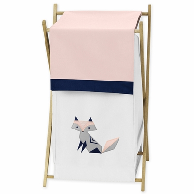 Fox Patch Pink and Navy Collection Hamper