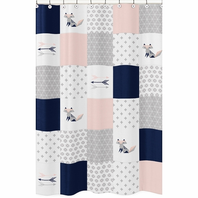 Fox Patch Pink and Navy Collection Shower Curtain