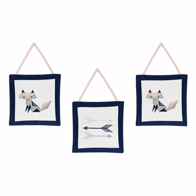Fox Patch Pink and Navy Collection Wall Hangings
