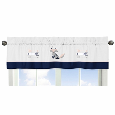 Fox Patch Pink and Navy Collection Window Valance