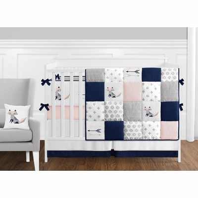 Fox Patch Pink and Navy Crib Bedding Collection