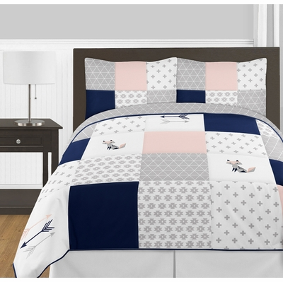 Fox Patch Pink and Navy Full/Queen Bedding Collection