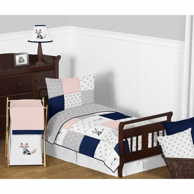Fox Patch Pink and Navy Toddler Bedding Collection