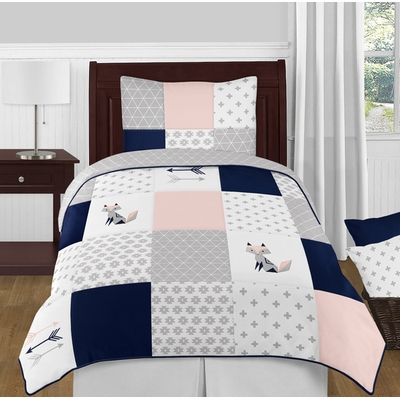 Fox Patch Pink and Navy Twin Bedding Collection