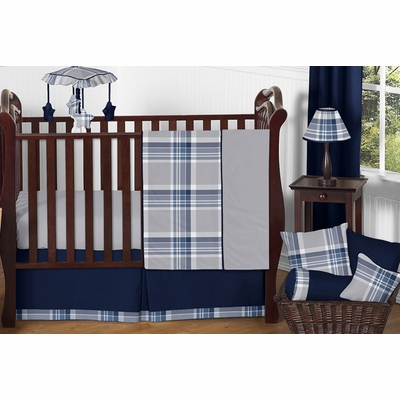 Plaid Navy Blue and Gray 11 Piece Bumperless Crib Bedding Collection