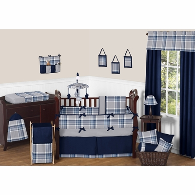 Plaid Navy Blue and Gray Crib Bedding Collection