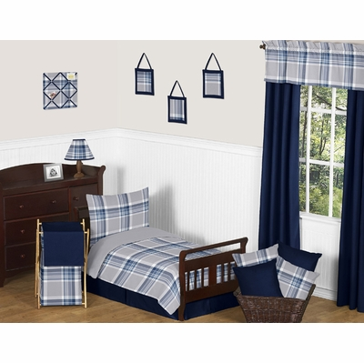 Plaid Navy Blue and Gray Toddler Bedding Collection