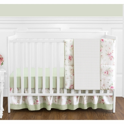 Riley's Roses 4 Piece Bumperless Crib Bedding Collection