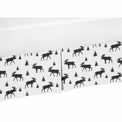 Rustic Patch Collection Moose Print Crib Bed Skirt