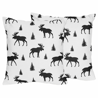 Rustic Patch Collection Moose Print Decorative Accent Throw Pillows - Set of 2