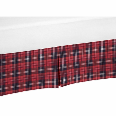 Rustic Patch Collection Plaid Crib Bed Skirt