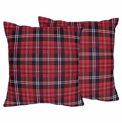 Rustic Patch Collection Plaid Decorative Accent Throw Pillows - Set of 2