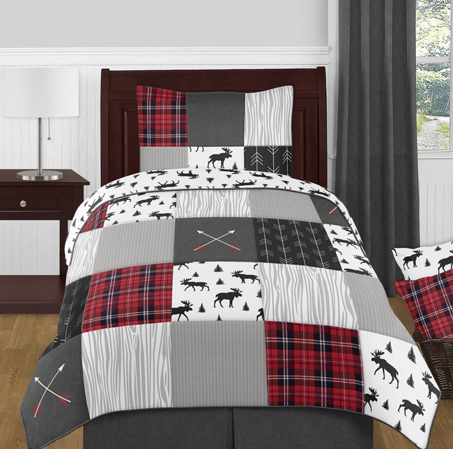 title | Red Black And White Plaid Bedding For Kids