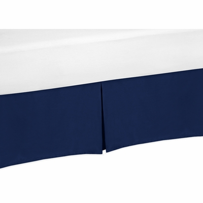 Solid Navy Blue Crib Bed Skirt