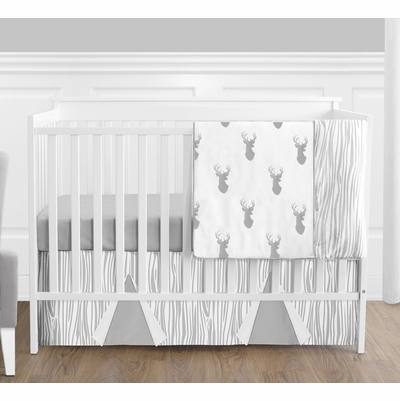 Stag Grey and White 4 Piece Bumperless Crib Bedding Collection