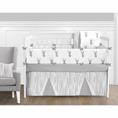 Stag Grey and White Crib Bedding Collection