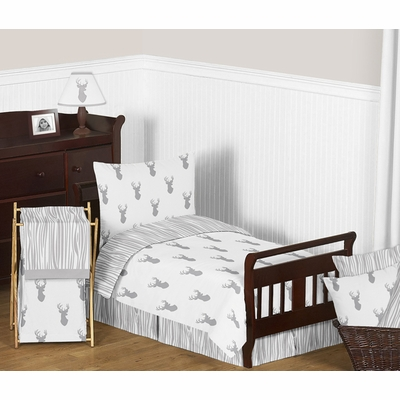 Stag Grey and White Toddler Bedding Collection