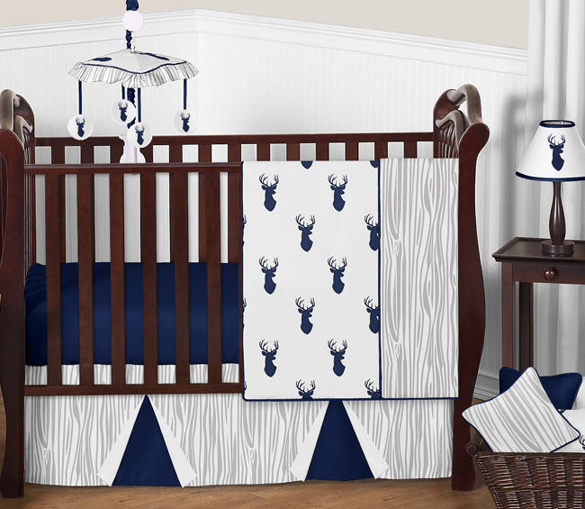 Stag Navy And White 11 Piece Bumperless Crib Bedding