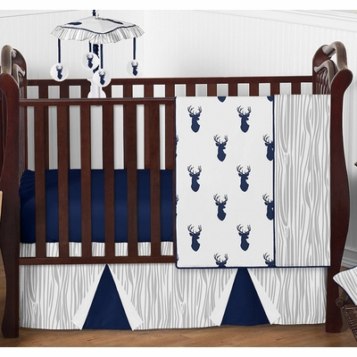 Stag Navy and White 4 Piece Bumperless Crib Bedding Collection
