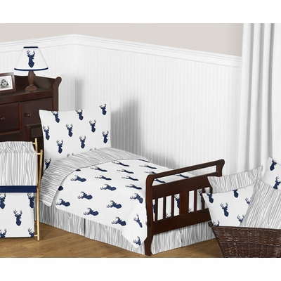Stag Navy and White Toddler Bedding Collection