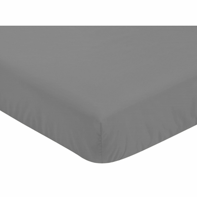 Stripe Gray and Orange Collection Crib Sheet - Solid Gray