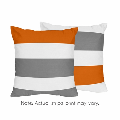 Stripe Gray and Orange Collection Decorative Accent Throw Pillows - Set of 2