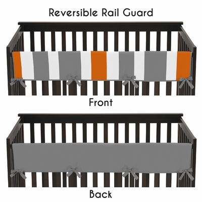 Stripe Gray and Orange Collection Long Rail Guard Cover