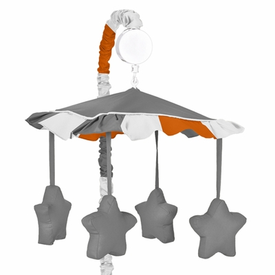 Stripe Gray and Orange Collection Musical Mobile