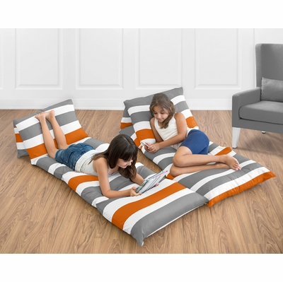 Stripe Gray and Orange Collection Pillow Case Lounger