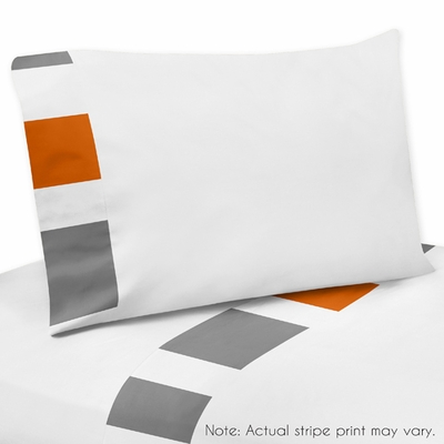 Stripe Gray and Orange Collection Twin Sheet Set