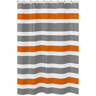 Stripe Gray and Orange Collection Shower Curtain