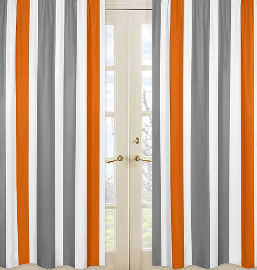 Stripe gray and orange collection window panels set of 2 for Window panel design