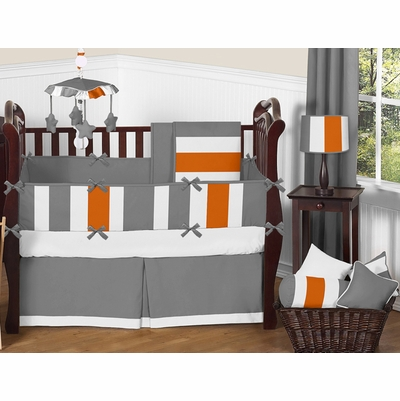 Stripe Gray and Orange Crib Bedding Collection