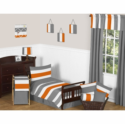 Stripe Gray and Orange Toddler Bedding Collection