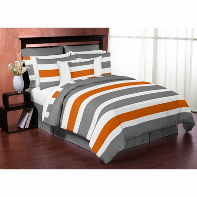 Stripe Gray and Orange Twin Bedding Collection